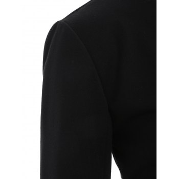 Asymmetric Button Up Blazer - BLACK BLACK