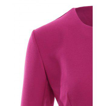 Asymmetric Button Up Blazer - ROSE RED ROSE RED