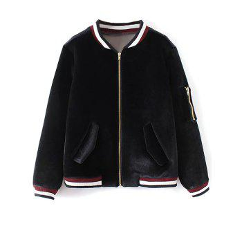 Patched Velvet Bomber Jacket