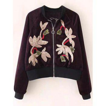 Embroidered Velvet Raglan Bomber Jacket