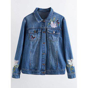 Floral Embroidered Jean Jacket with Pocket
