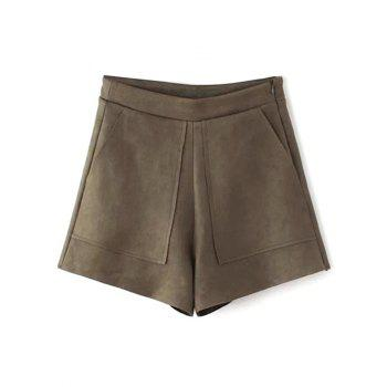 Front Pockets Suede Shorts