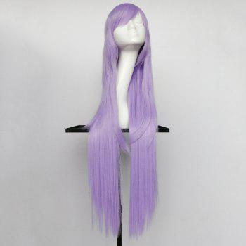 Oblique Bang Overlength Glossy Straight Synthetic Cosplay Anime Wig - LIGHT PURPLE