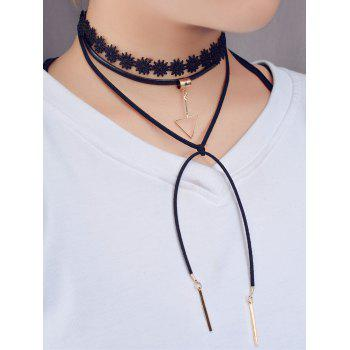 Triangle Bar Layered Tie Choker Necklace