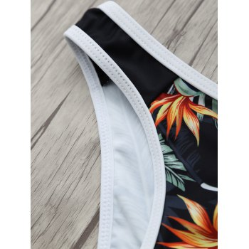 High Neck Leaf Printed Racerback Bikini Bathing Suit - BLACK M