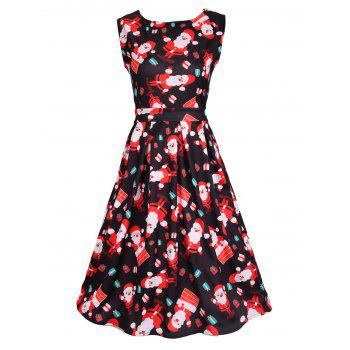 Santa Print Sleeveless Flare Dress