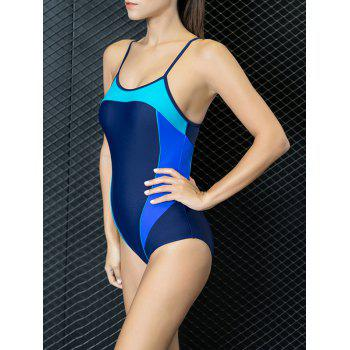 Color Block Cut Out One Piece Swimwear - PURPLISH BLUE L