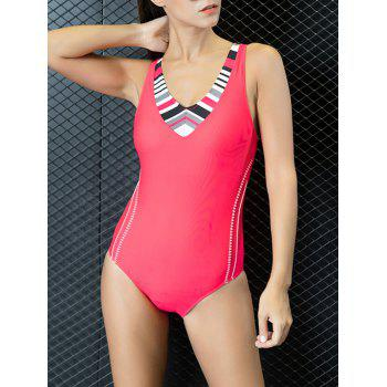 Cut Out V Neck Color Block One Piece Swimwear - RED S