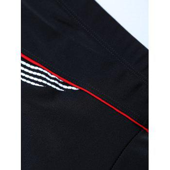 Graphic Contrast Striped Swim Bottom Boyshorts - BLACK BLACK