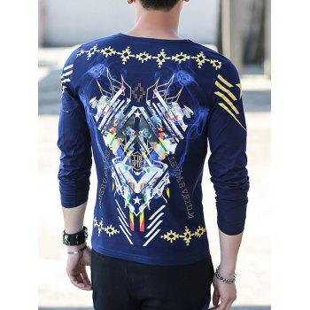 Long Sleeve Round Neck All Over Printed Tee - CADETBLUE 3XL