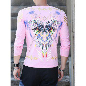 Long Sleeve Round Neck All Over Printed Tee - PINK 4XL