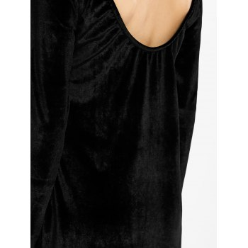 Velvet Long Sleeve Backless Bodycon Dress - BLACK S
