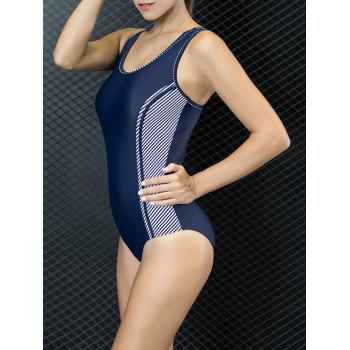 Color Block Racer One Piece Swimwear - PURPLISH BLUE M