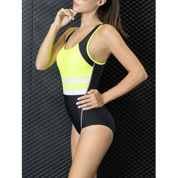 Cut Out Racer Color Block One Piece Swimwear - YELLOW S