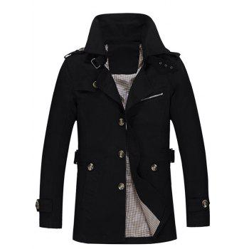 Single Breasted Turndown Collar Epaulet Design Coat - BLACK BLACK