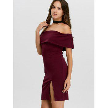 Off The Shoulder Ruffle Club Dress - BURGUNDY XL