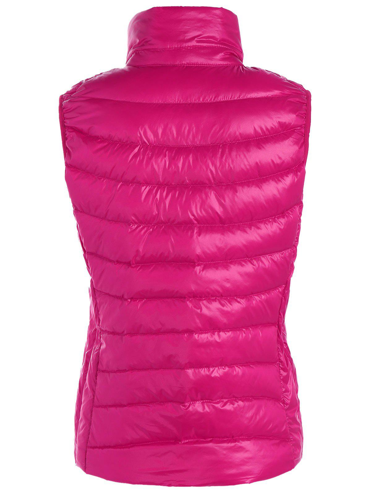 Padded Zip Up Vest with Stand Collar - ROSE RED M