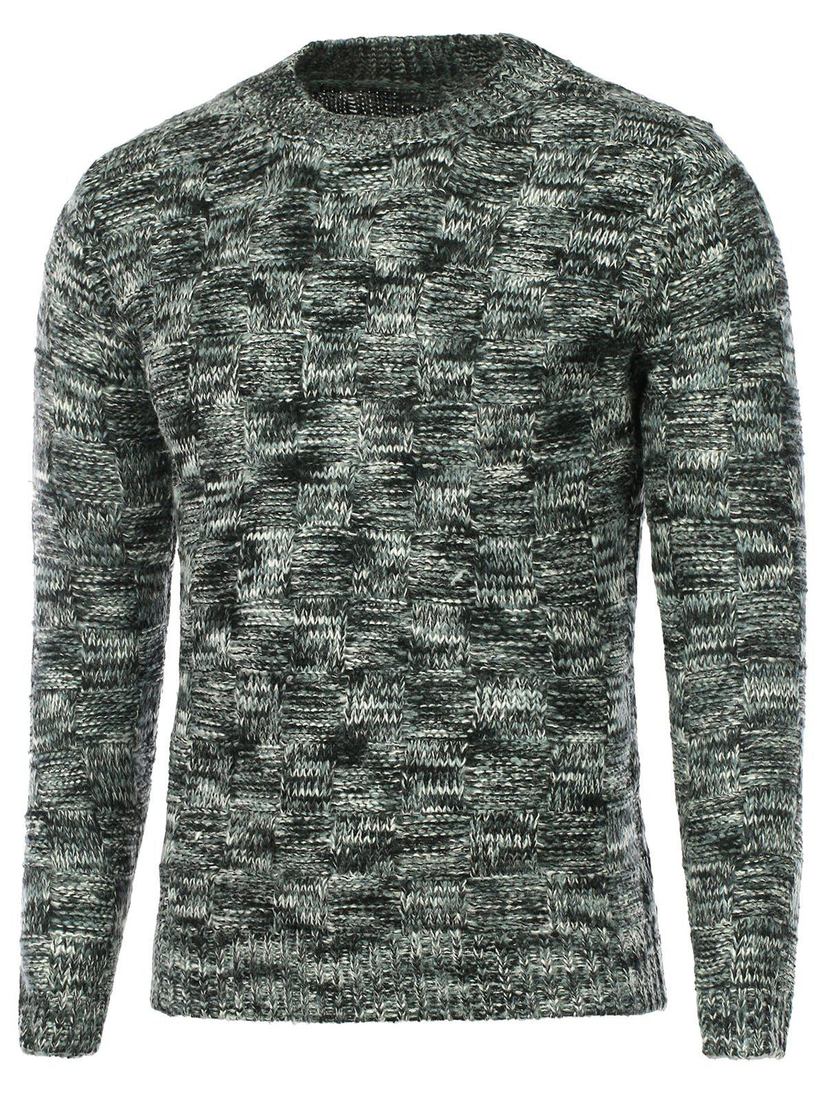 Crew Neck Weave Pattern Knitted Sweater - BLACK M
