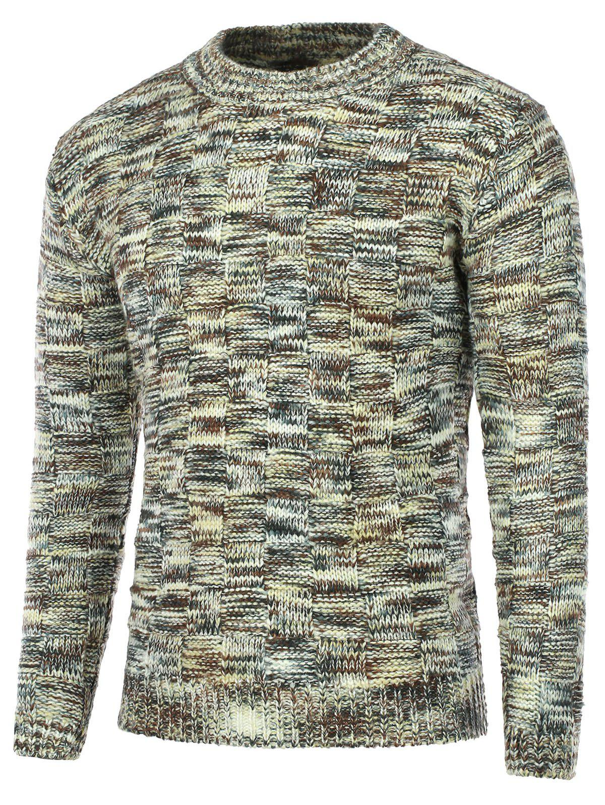 Crew Neck Weave Pattern Knitted Sweater - KHAKI L