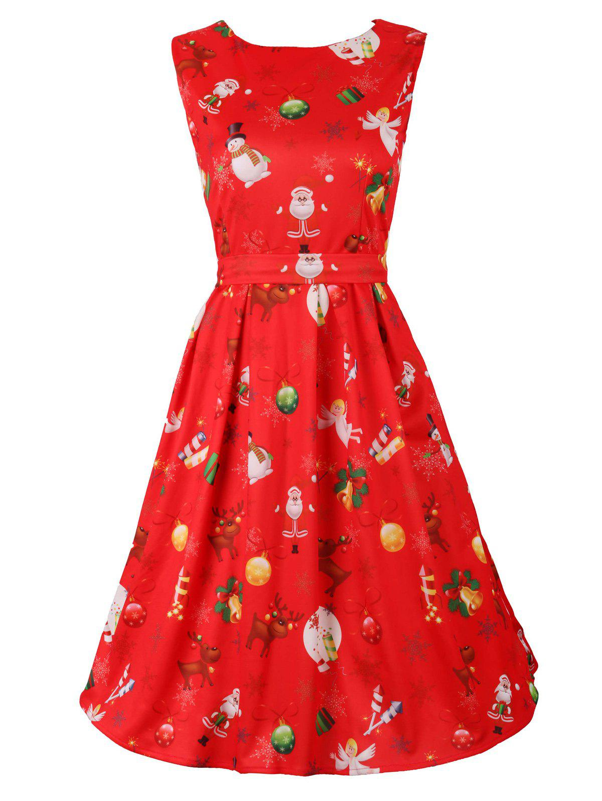 Belted Christmas Print Flare Dress