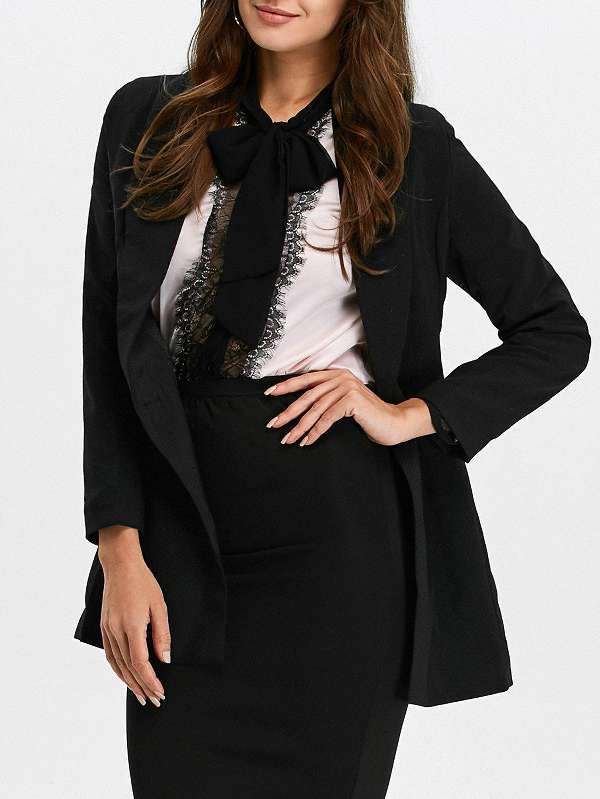 Shawl Collar Double Breasted Blazer - BLACK 2XL