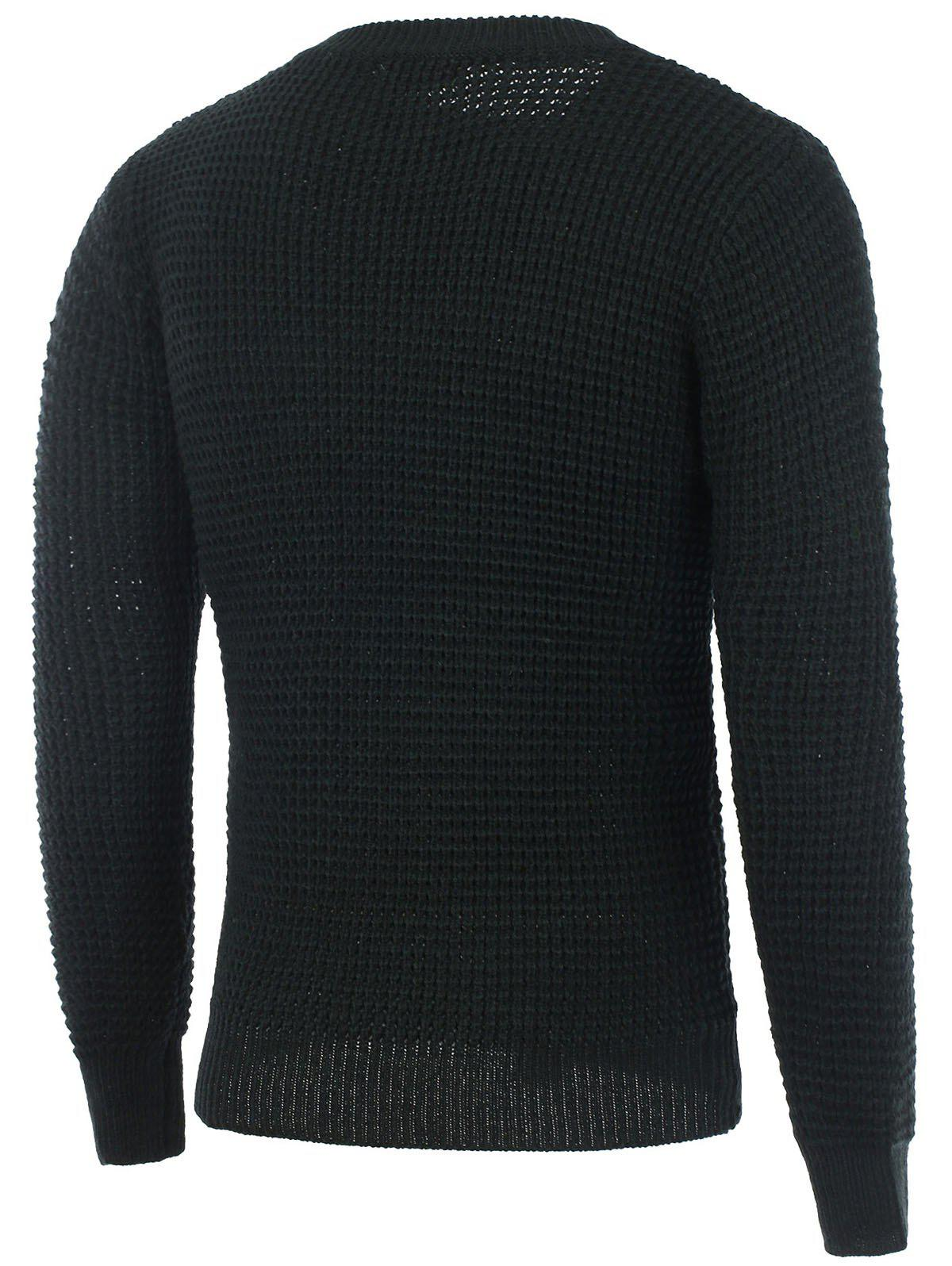 Texture Knitted Crew Neck Graphic Sweater - BLACK L