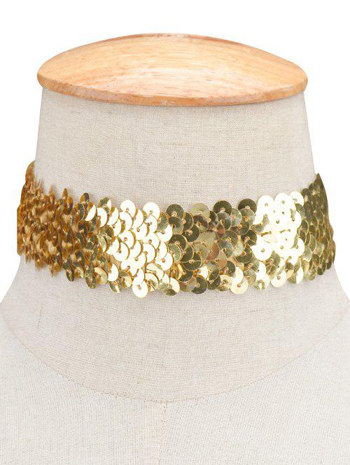Statement Sequin Wide Choker Necklace - GOLDEN