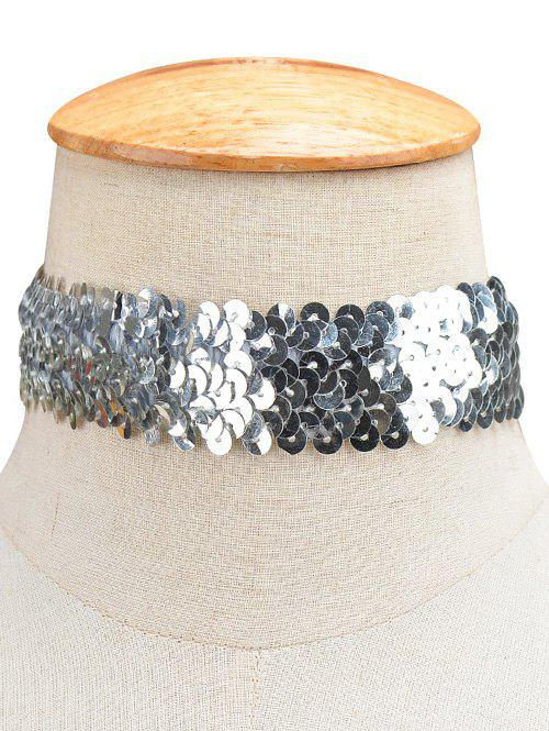 Statement Sequin Wide Choker Necklace - SILVER