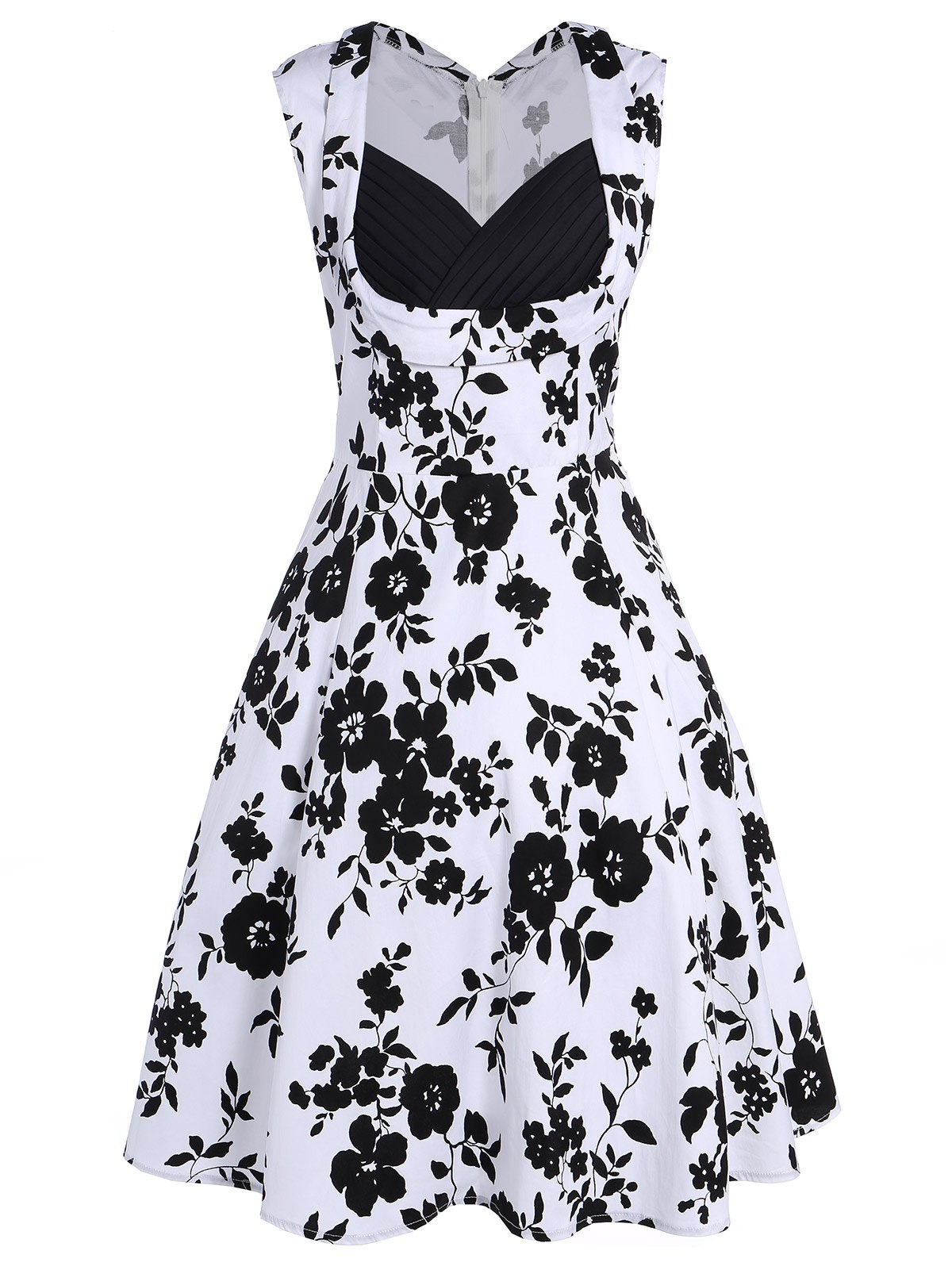 Sleeveless Shirred Floral Print Swing Dress Vintage Prom Dresses - WHITE 2XL