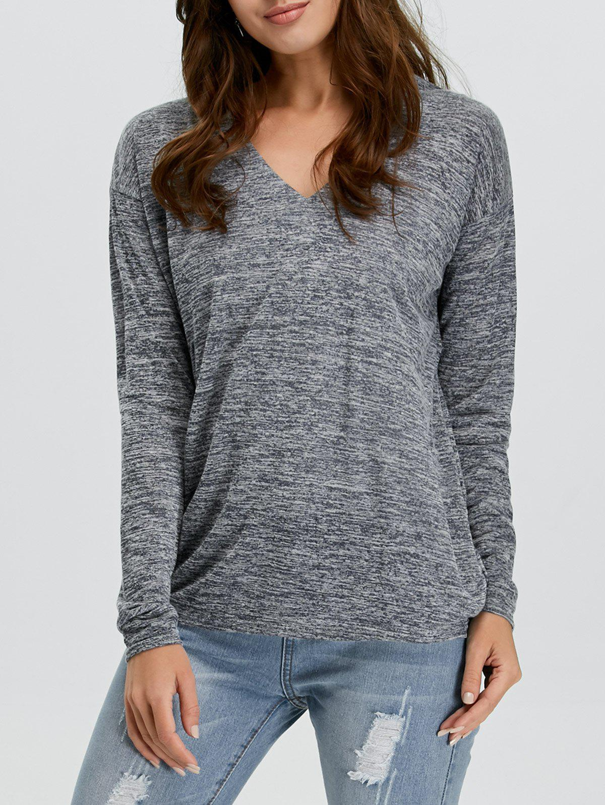 V-Neck Long Sleeve Knitted Tee - GRAY S