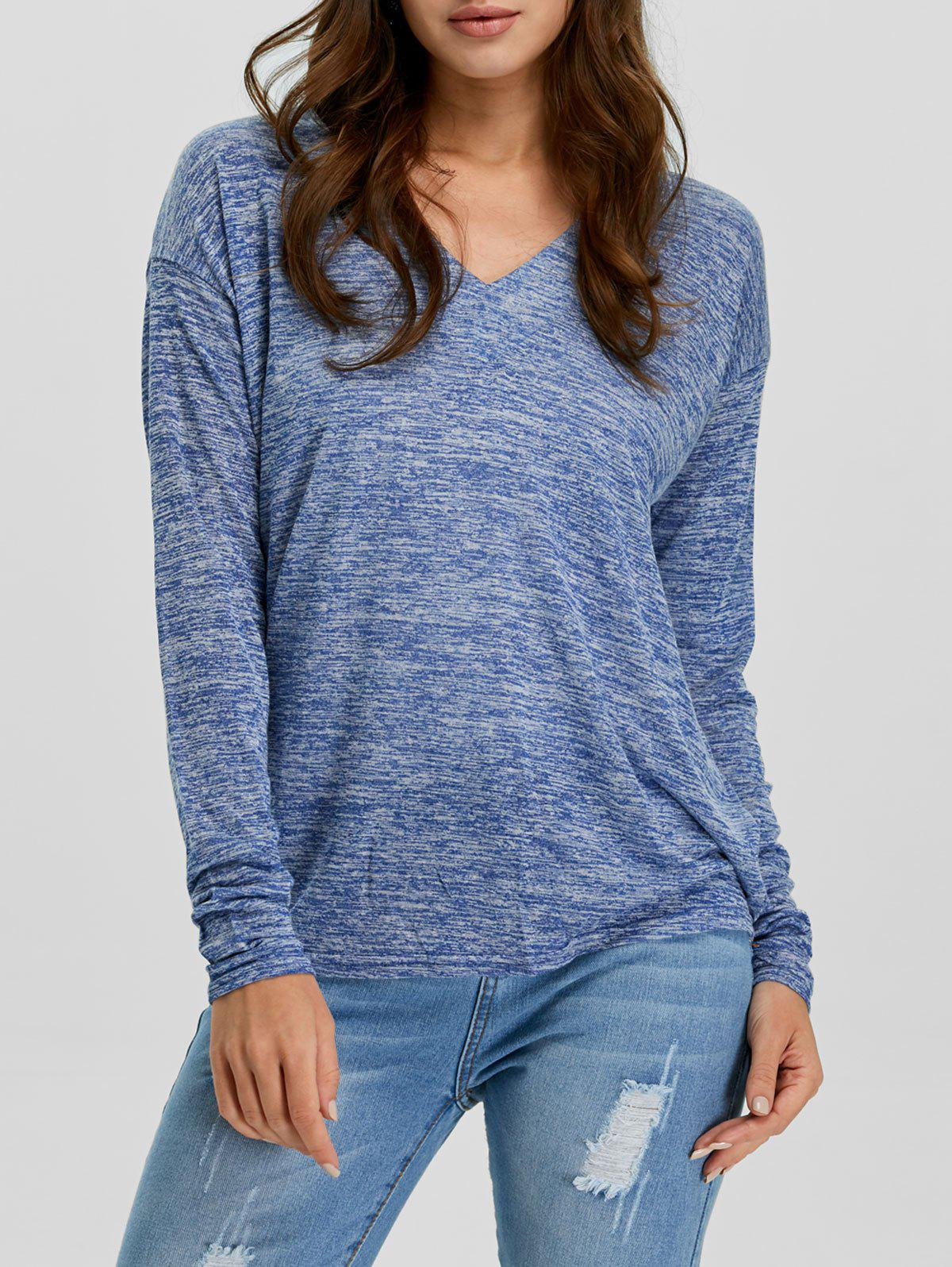 V-Neck Long Sleeve Knitted Tee - BLUE S