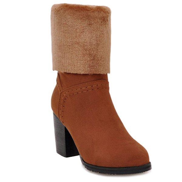 Plush Panel Chunky Heel Mid Calf BootsShoes<br><br><br>Size: 37<br>Color: BROWN