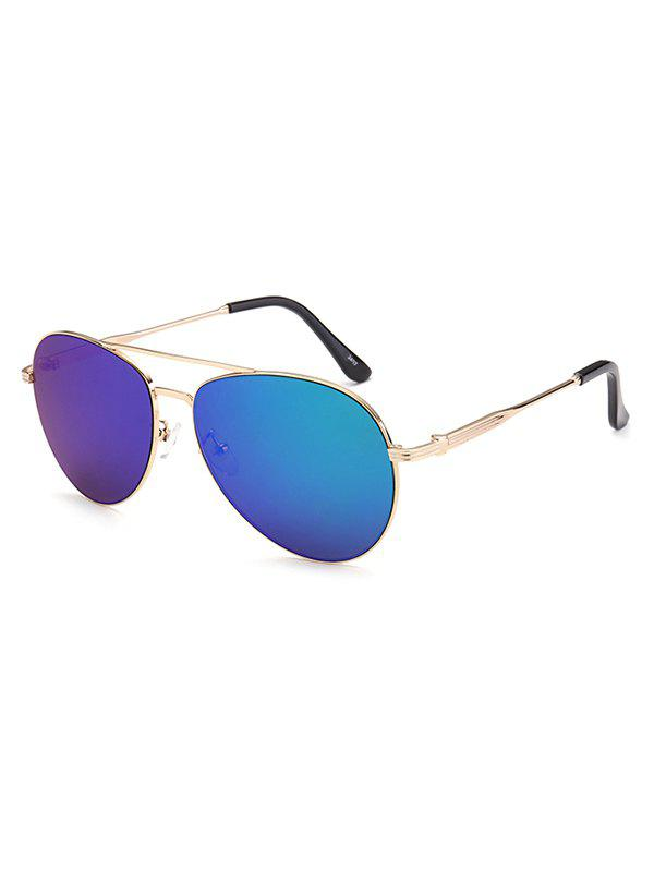 Crossbar Anti UV Metal Pilot Mirrored Sunglasses - BLUE