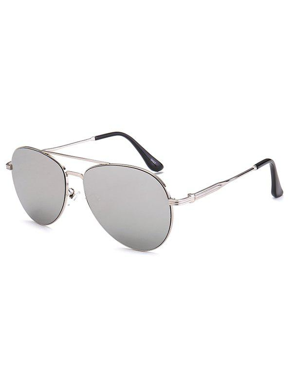 Crossbar Anti UV Metal Pilot Mirrored Sunglasses - SILVER
