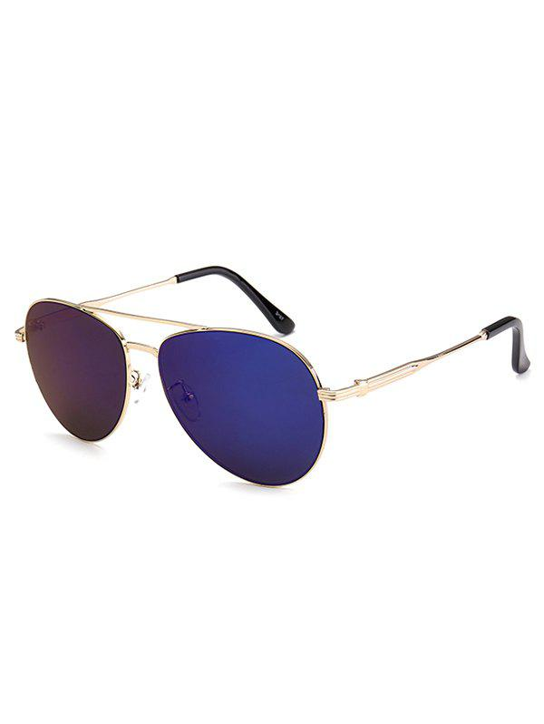 Crossbar Anti UV Metal Pilot Mirrored Sunglasses - DEEP BLUE