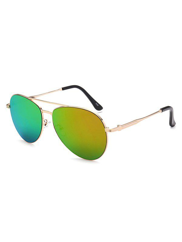 Crossbar Anti UV Metal Pilot Mirrored Sunglasses - GOLDEN