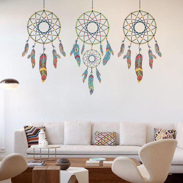 Removable Feather Aeolian Bell Home Decor Wall Stickers - COLORMIX