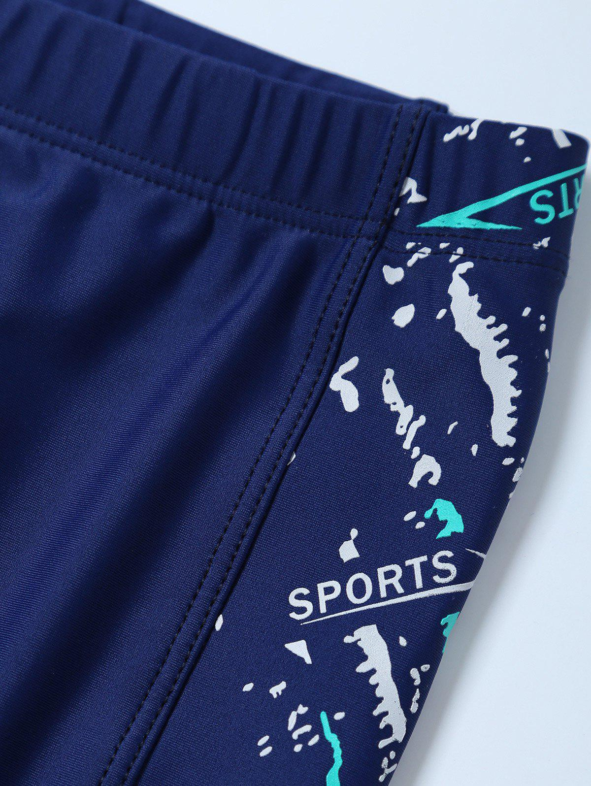 Sports Graphic Zip Printed Swim Bottom Boyshorts - DEEP BLUE 3XL