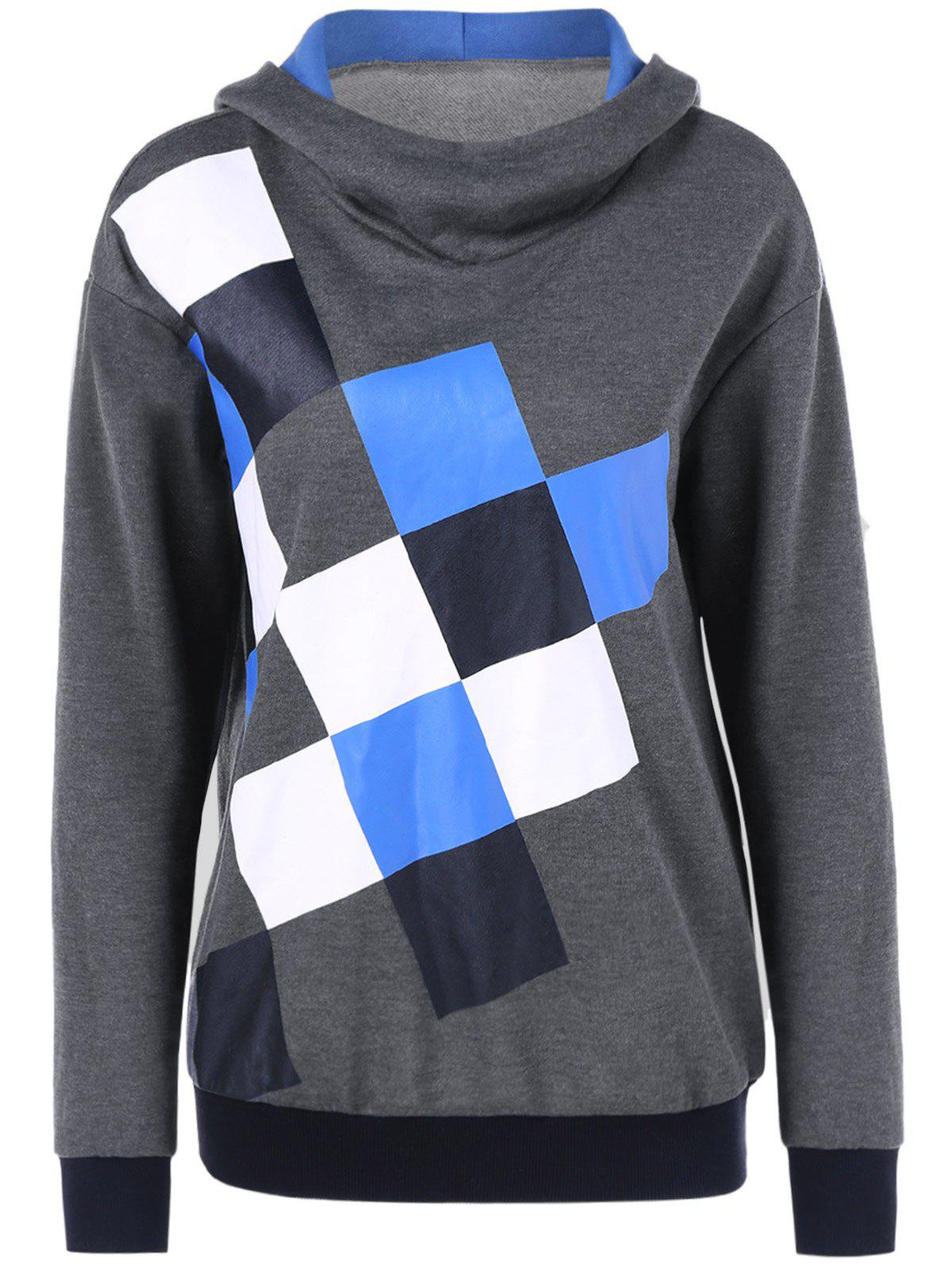 Square Print Drop Shoulder Hoodie - COLORMIX M