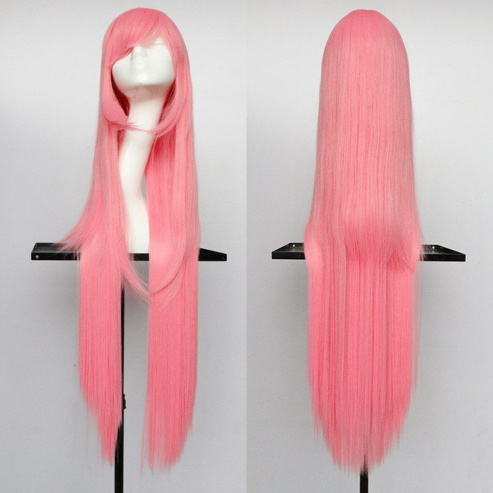 Oblique Bang Overlength Glossy Straight Synthetic Cosplay Anime Wig - SHALLOW PINK
