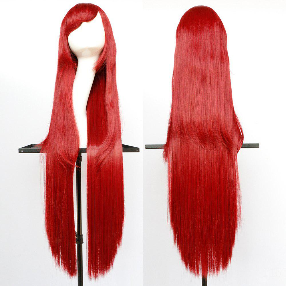 Oblique Bang Overlength Glossy Straight Synthetic Cosplay Anime Wig - BRIGHT RED