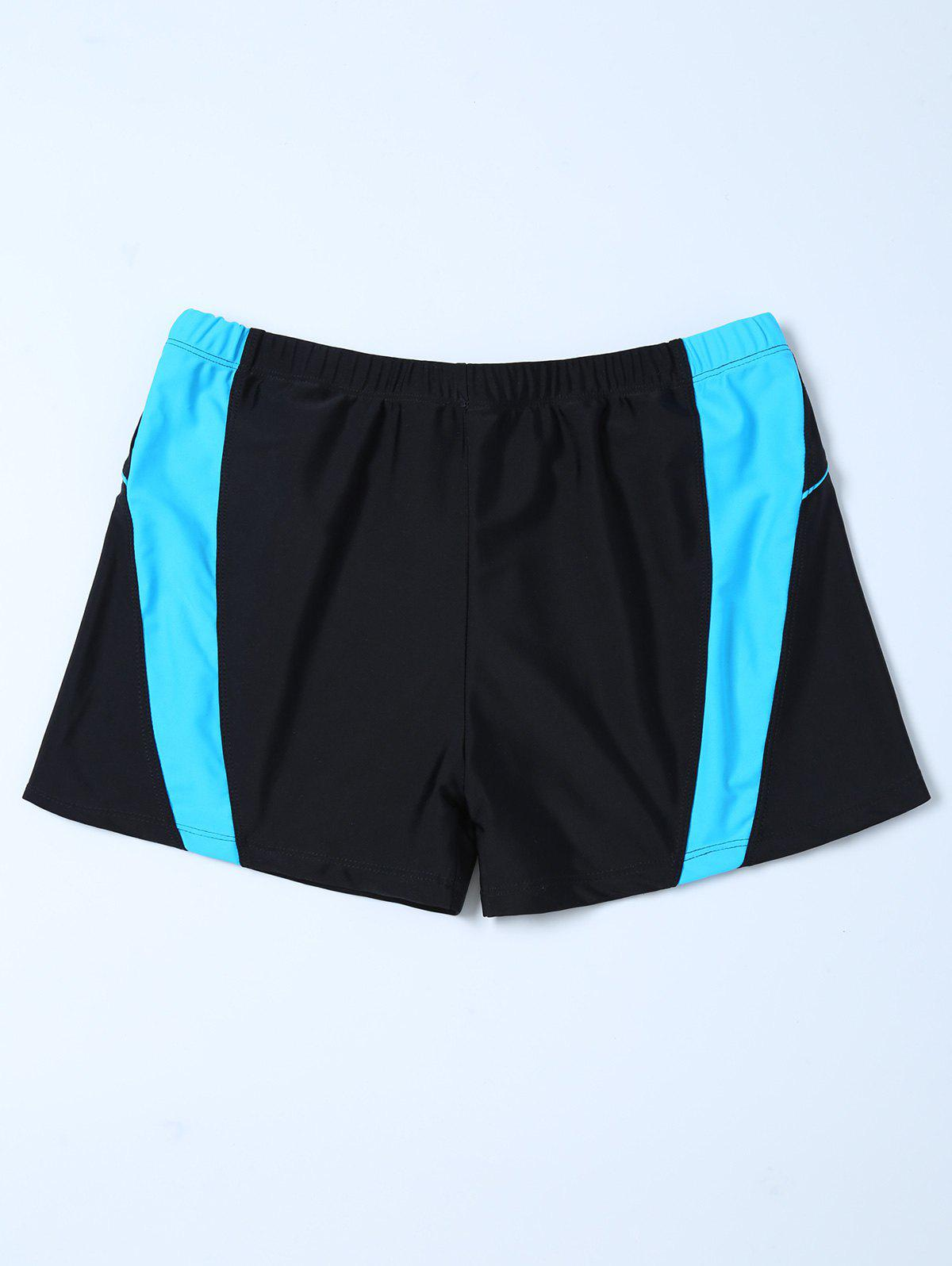 Contrast Insert Swim Bottoms Boyshorts - BLACK 4XL