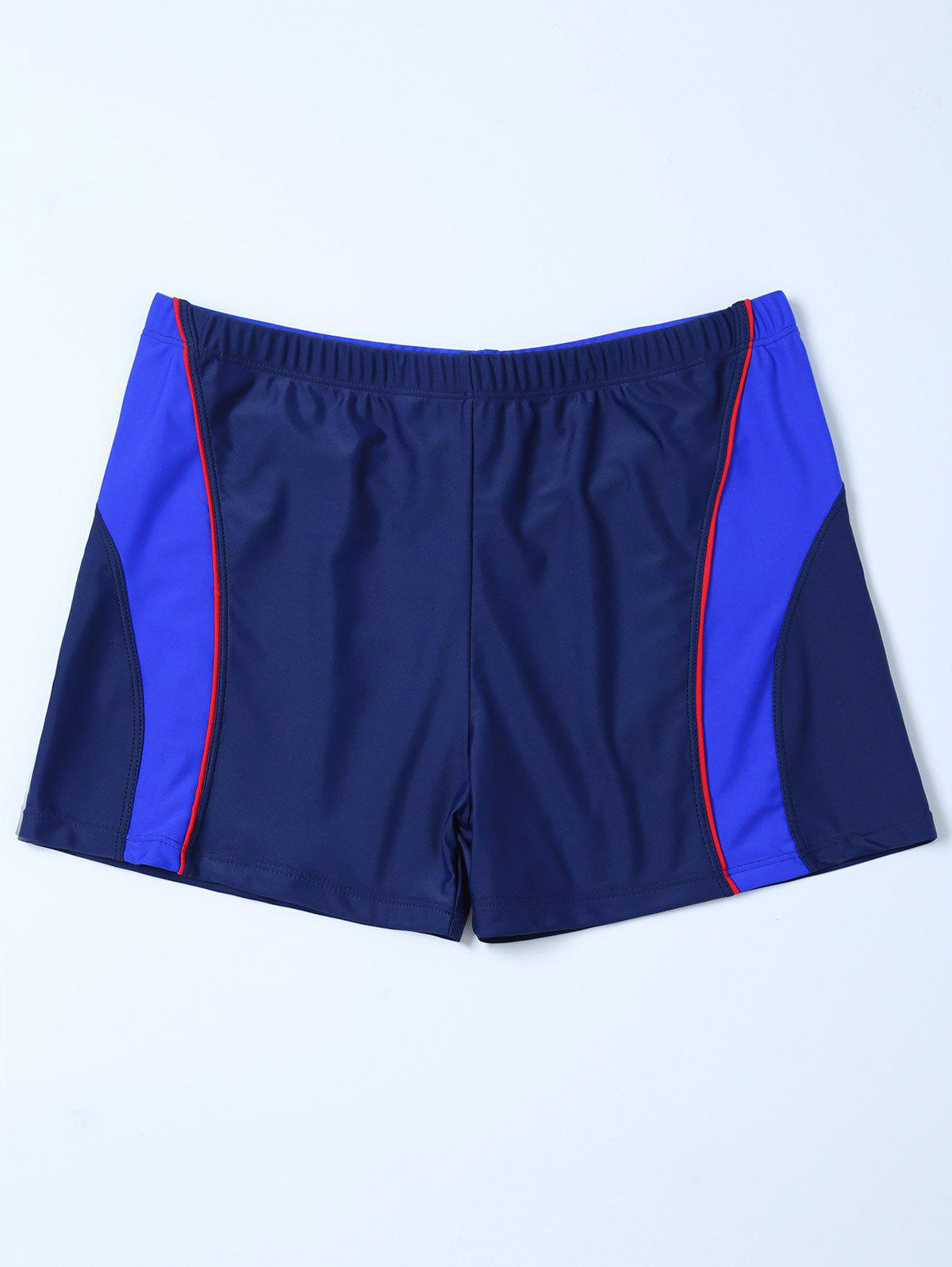 Contrast Surf Swimsuit Bottom Boyshorts - PURPLISH BLUE 4XL