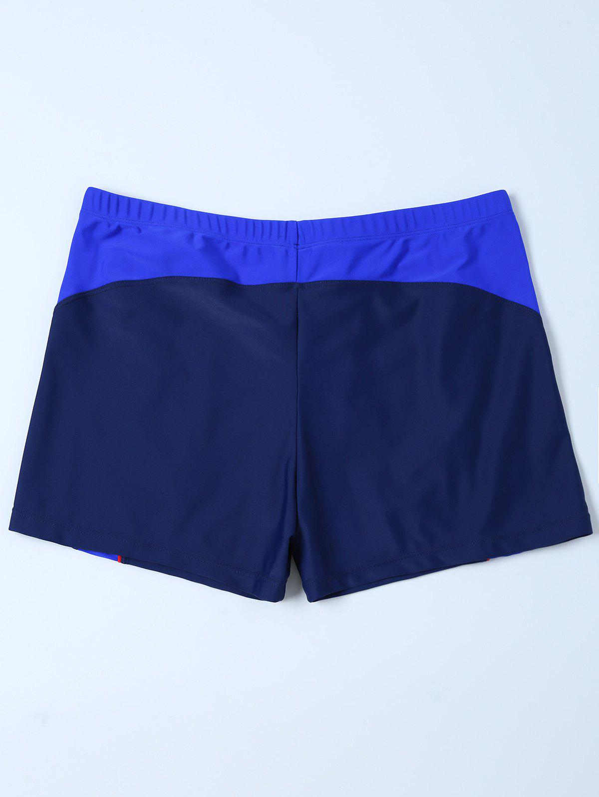 Contrast Surf Swimsuit Bottom Boyshorts - PURPLISH BLUE 2XL