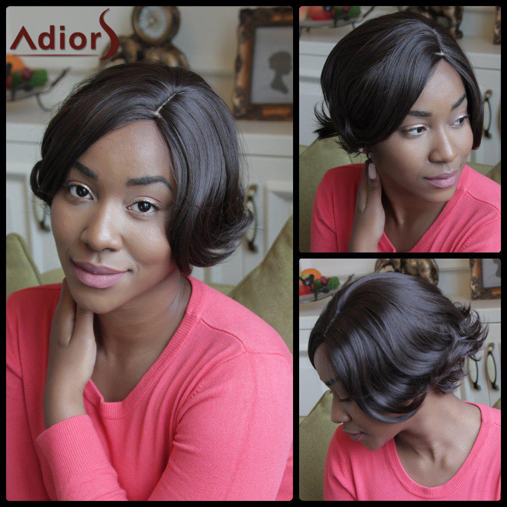 Adiors Short Side Parting Fluffy Straight Synthetic Wig - BROWN
