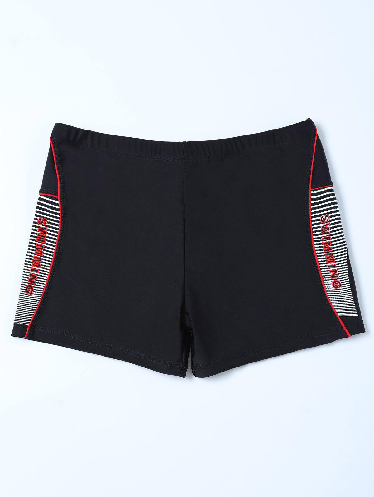 Graphic Contrast Striped Swim Bottom Boyshorts - BLACK 2XL