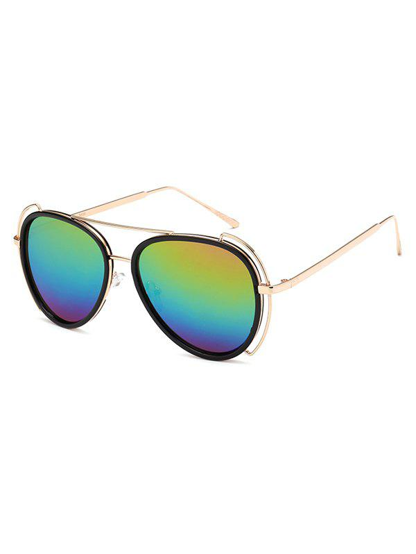 Hollow Out Frame Crossbar Pilot Mirrored Sunglasses - COLORFUL