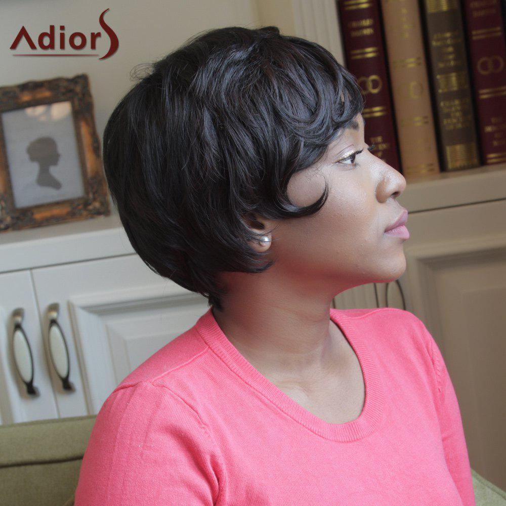 Adiors Short Side Bang Straight Heat Resistant Synthetic Wig - BLACK BROWN