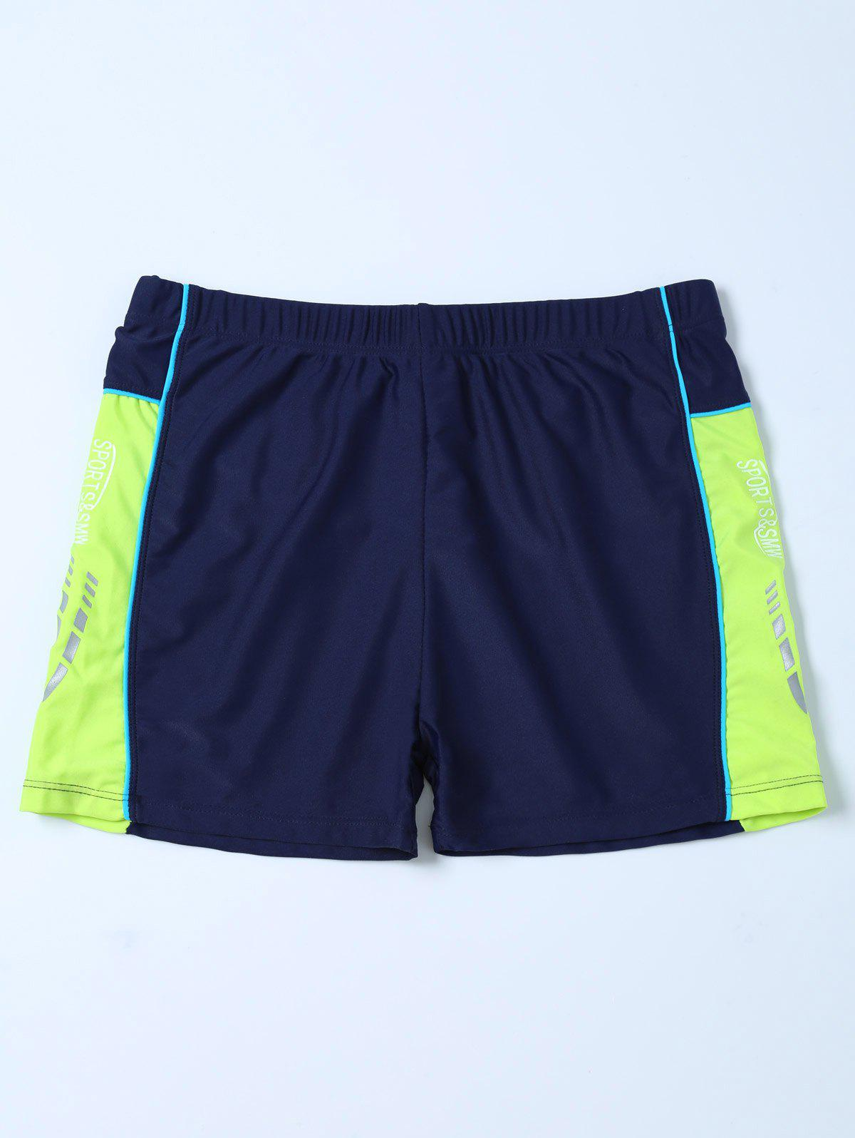 Elastic Waist Contrast Panel Swim Boyshorts - PURPLISH BLUE 2XL