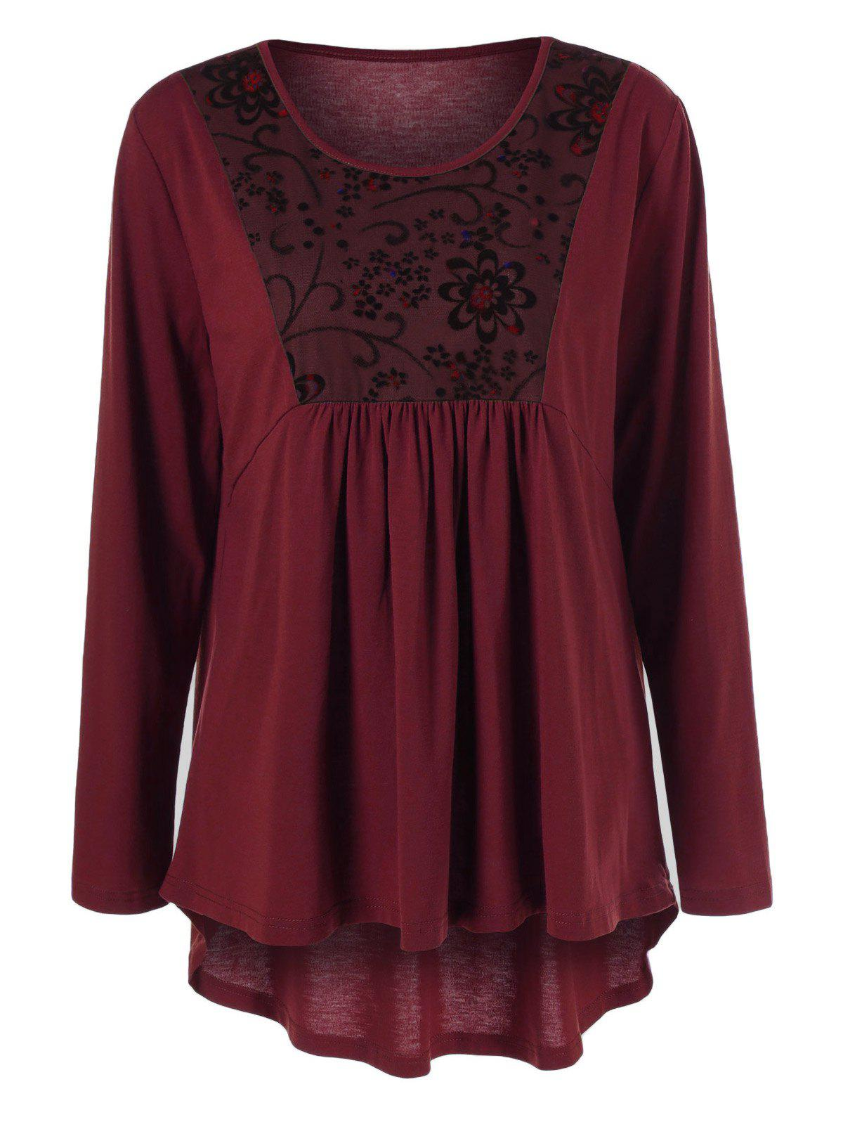 Plus Size Floral Trim High Low T-Shirt - WINE RED 4XL